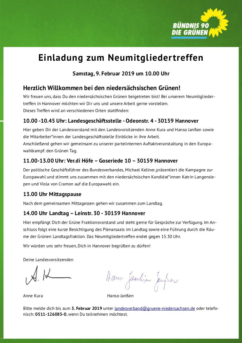 Neumitgliedertreffen in Hannover