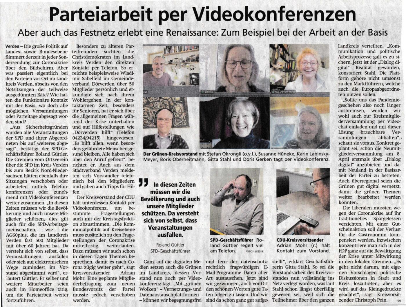 Parteiarbeit per Videokonferenzen …